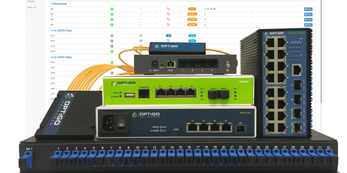 Optigo Connect Head End, Managed Edge Switches, Optical Splitters and switch management interface OneView